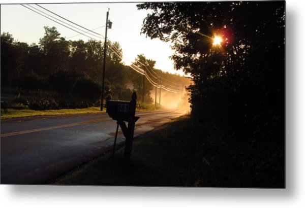 Sunrise On A Country Road Metal Print