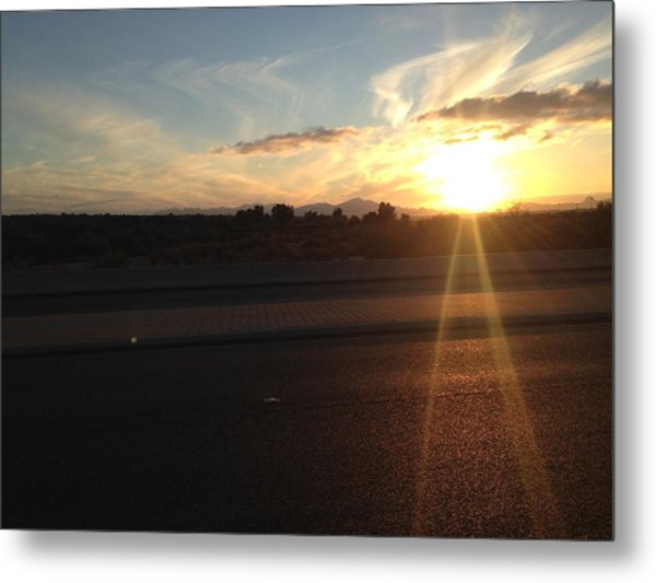 Sunrise On Asphalt Metal Print