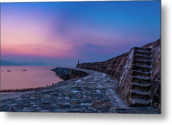 Sunrise On The Cobb, Lyme Regis, Dorset, Uk. Metal Print