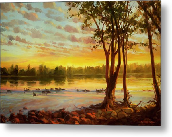 Metal Print featuring the painting Sunrise On The Columbia by Steve Henderson