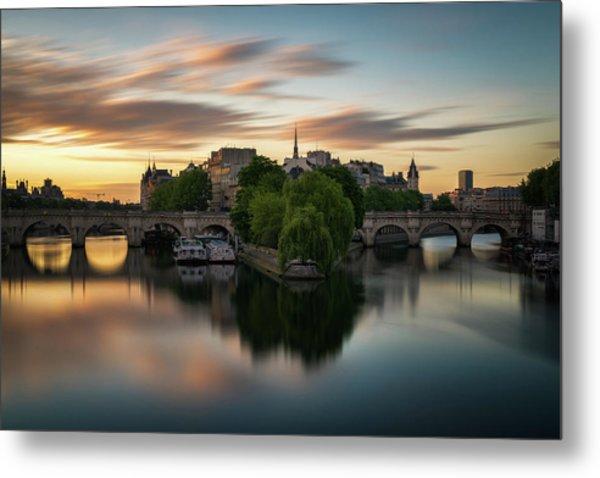 Sunrise On The Seine Metal Print
