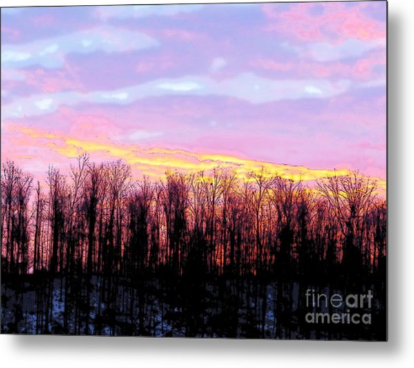 Sunrise Over Lake Metal Print