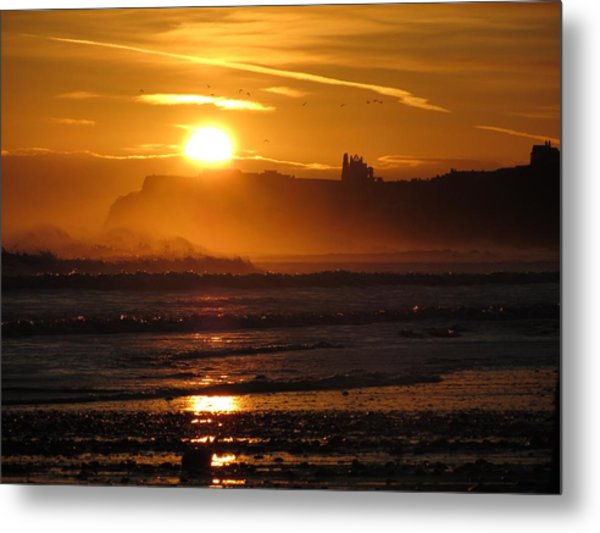 Sunrise Over Sandsend Beach Metal Print
