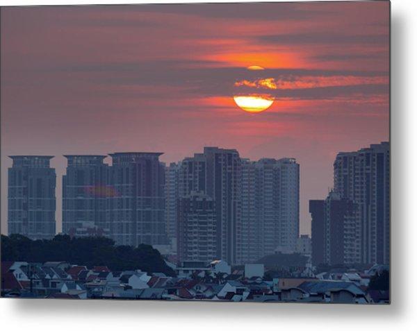 Sunrise Over Singapore Residential Neighborhood Metal Print