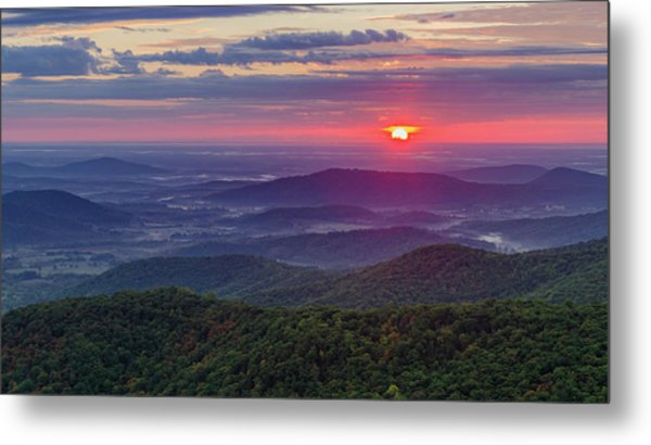 Metal Print featuring the photograph Sunrise Over The Blue Ridge by Lori Coleman