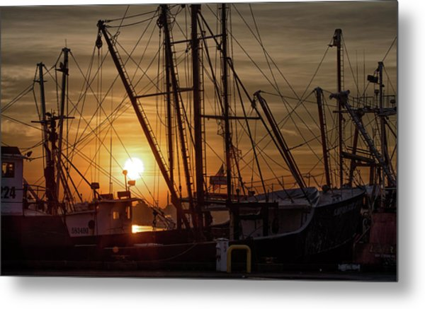 Sunrise Over The New Bedford Harbor Metal Print by John Hoey