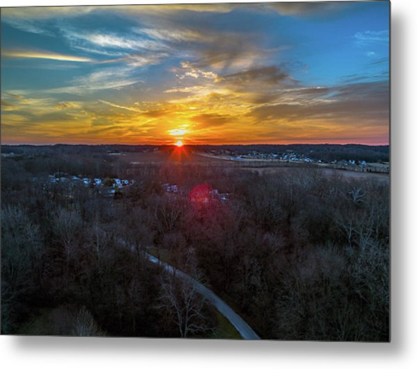 Sunrise Over The Woods Metal Print