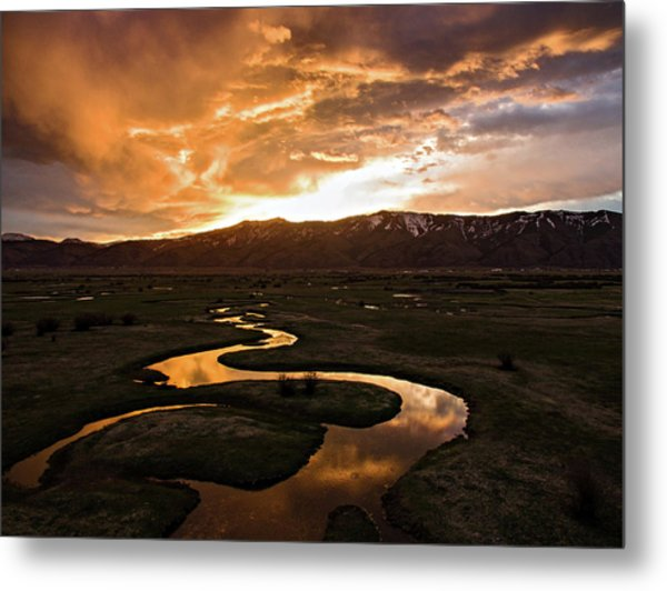Sunrise Over Winding River Metal Print