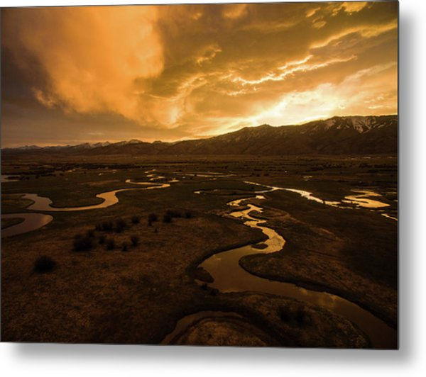 Sunrise Over Winding Rivers Metal Print