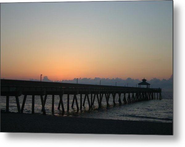 Sunrise Pier Metal Print by Dennis Curry
