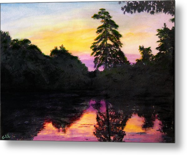 Sunrise Pond Maryland Landscape Original Fine Art Painting Metal Print