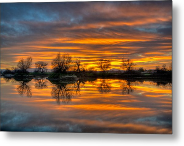 Sunrise Reflection In The River Metal Print