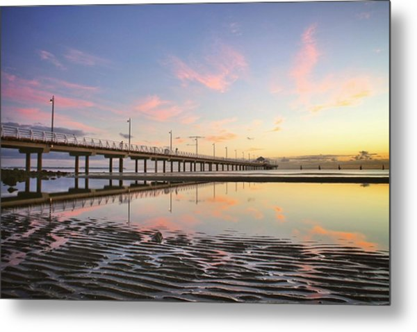 Sunrise Reflections At The Shorncliffe Pier Metal Print