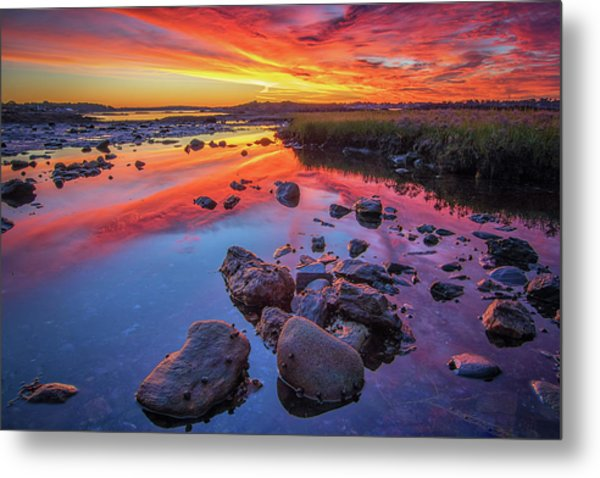 Sunrise Reflections In Harpswell Metal Print