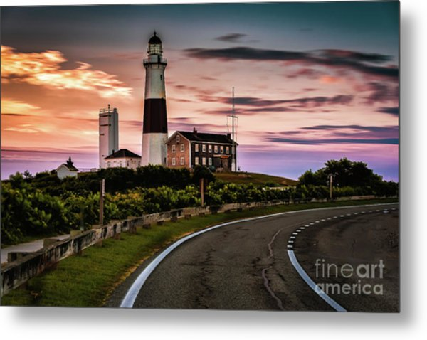 Sunrise Road To The Montauk Lighthous Metal Print