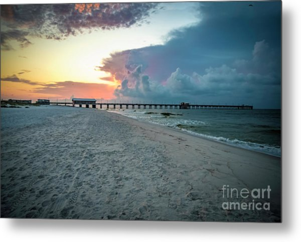 Sunrise Seascape Gulf Shores Al Pier 064a Metal Print