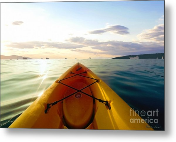 Sunrise Seascape Kayak Adventure Metal Print