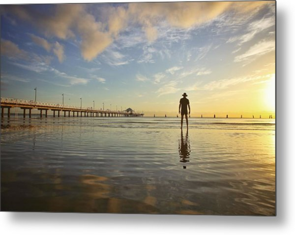 Sunrise Silhouette Down By The Pier. Metal Print