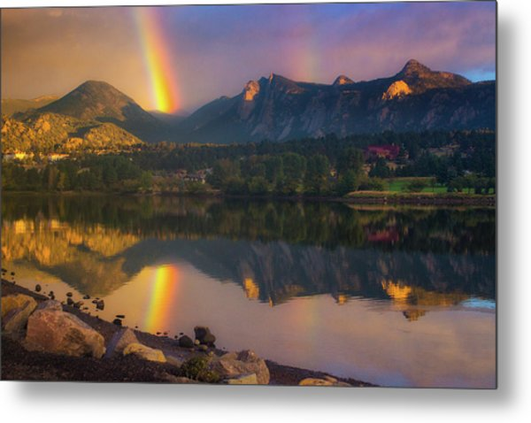 Sunrise Summer Rainbow In Colorado Metal Print