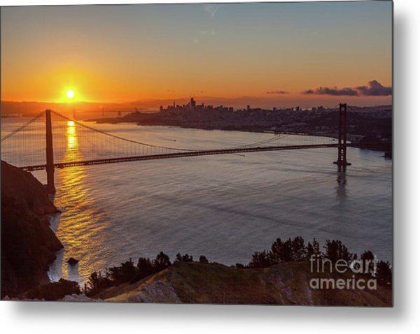 Sunrise Sunlight Hitting The Coastal Rock On The Shore Of The Go Metal Print