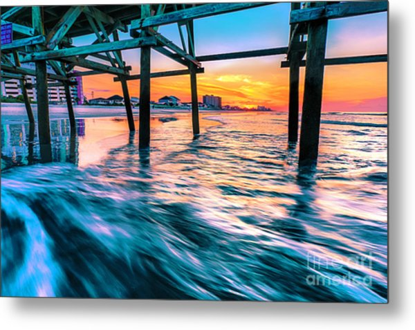Sunrise Under Cherry Grove Pier Metal Print