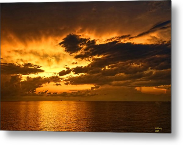 Sunrise With A Rain Shower Metal Print by Bill Perry