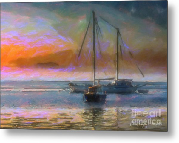 Sunrise With Boats Metal Print