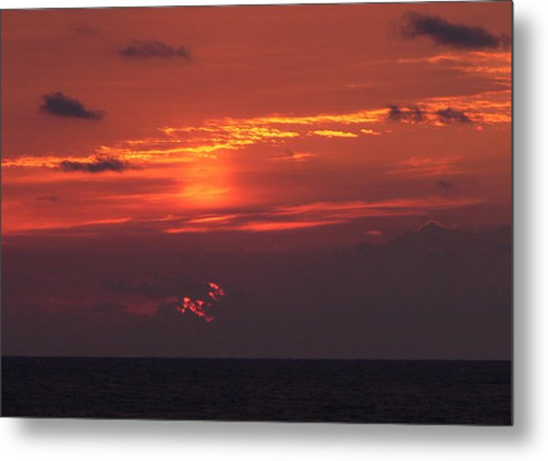 Sunrising Out Of Clouds Metal Print by Tom LoPresti