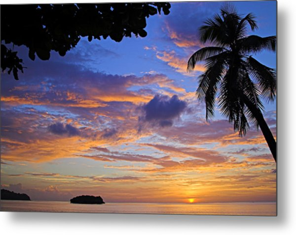 Sunset 2-st Lucia Metal Print