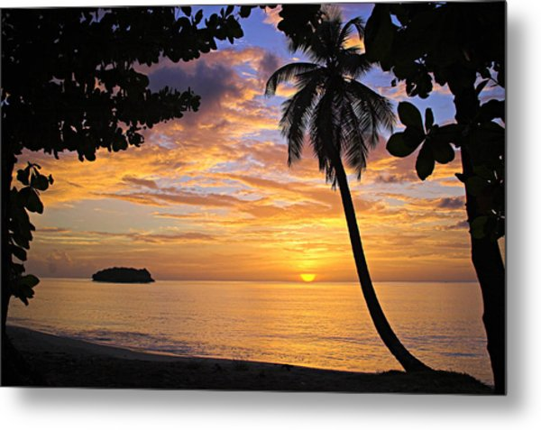 Sunset 3-st Lucia Metal Print
