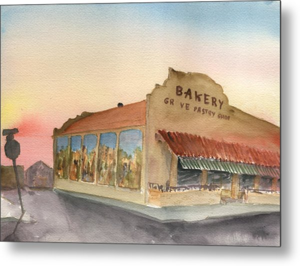 Sunset 38 Grove Pastry Shop Metal Print