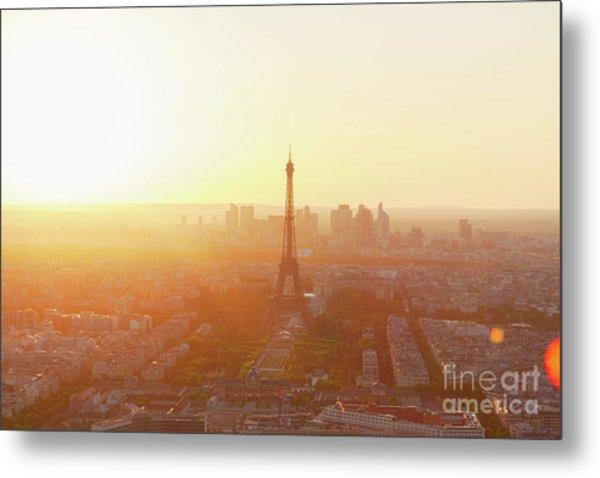 Sunset Above Paris Metal Print