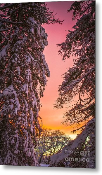 Sunset After Snow Metal Print