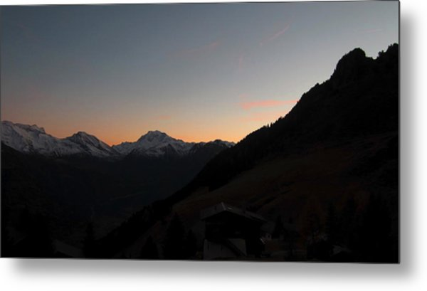 Sunset Afterglow In The Mountains Metal Print