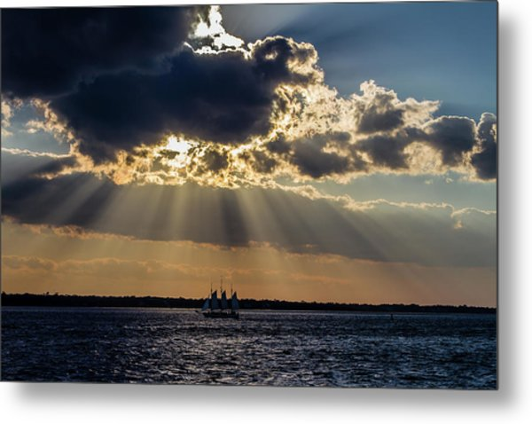 Sunset And A Three Masted Schooner Metal Print