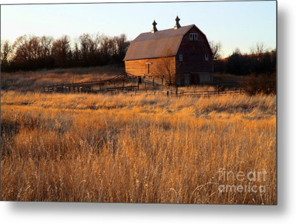 Sunset And Barn Metal Print