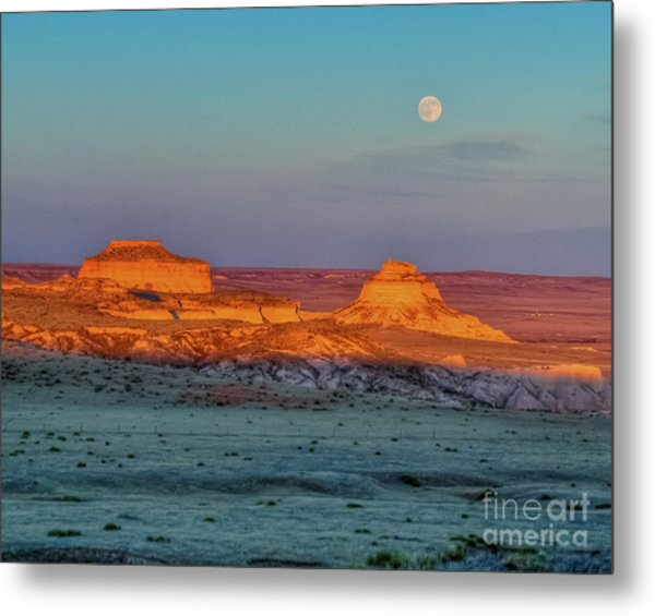 Sunset And Moon-rise Over Pawnee Buttes Metal Print