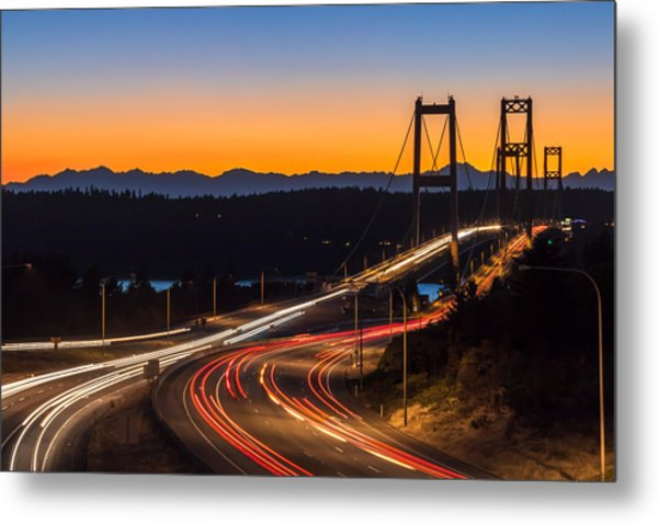 Sunset And Streaks Of Light - Narrows Bridges Tacoma Wa Metal Print
