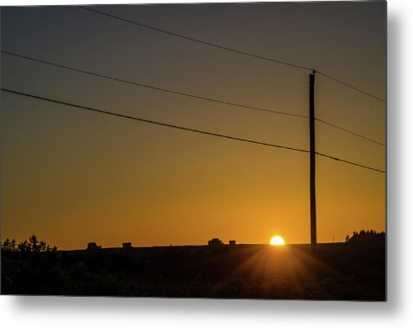 Metal Print featuring the photograph Sunset And Telephone Post by Rob Huntley