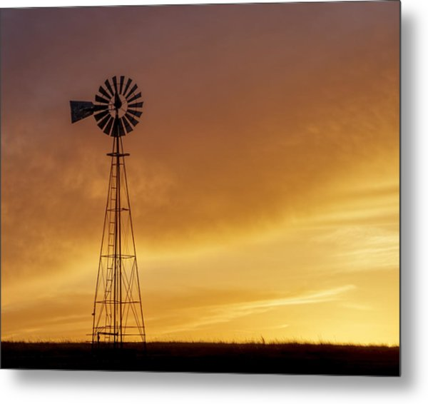 Metal Print featuring the photograph Sunset And Windmill 09 by Rob Graham