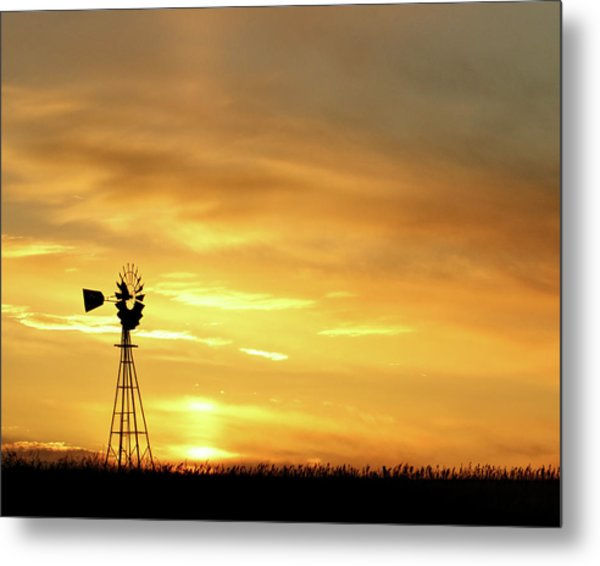 Metal Print featuring the photograph Sunset And Windmill 11 by Rob Graham