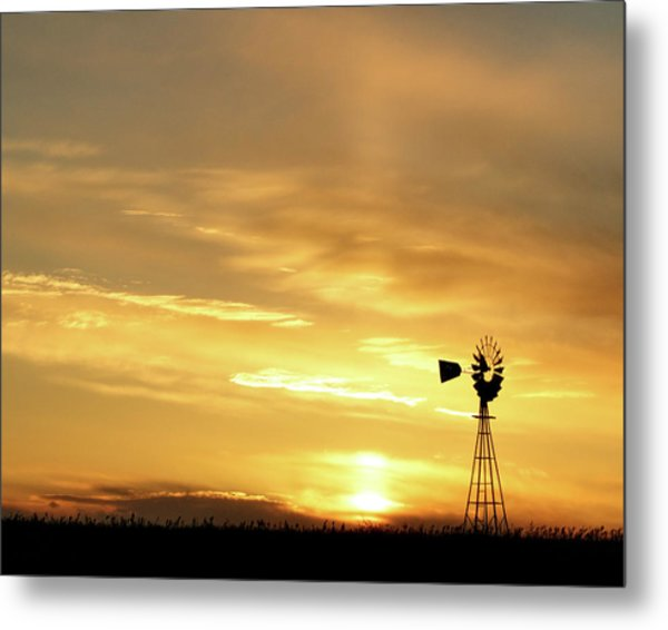 Metal Print featuring the photograph Sunset And Windmill 13 by Rob Graham