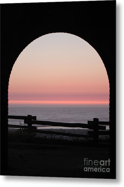 Sunset Arch With Fog Bank Metal Print
