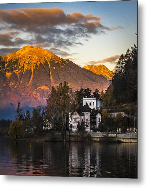 Sunset At Bled Metal Print