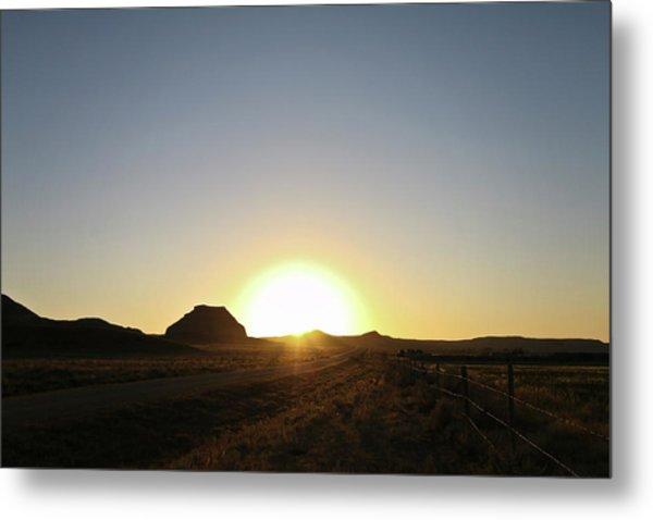 Sunset At Castle Butte Sk Metal Print