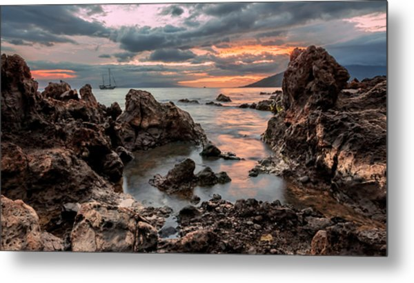 Metal Print featuring the photograph Sunset At Charley Young Beach by Susan Rissi Tregoning