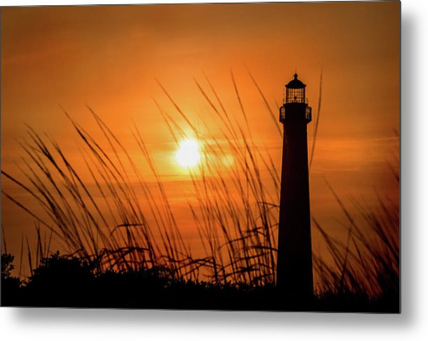 Sunset At Cm Lighthouse Metal Print