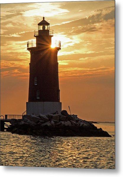 Sunset At Delaware Breakwater Light Metal Print