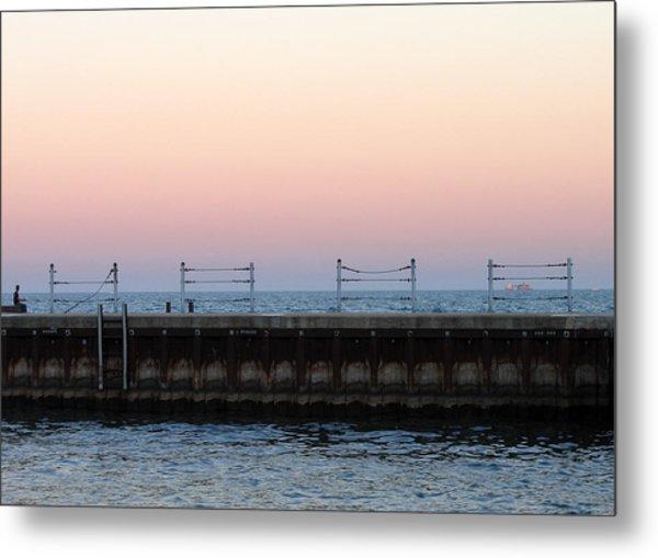Sunset At Diversey Harbor Metal Print