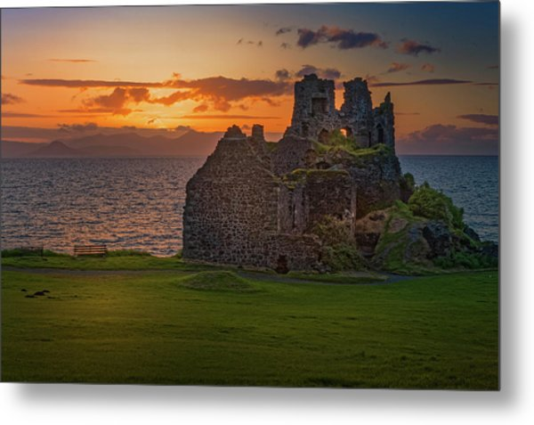 Sunset At Dunure Castle Metal Print